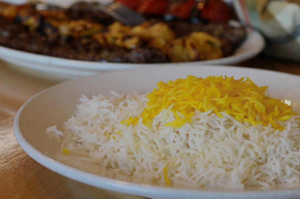 White rice with saffron on top